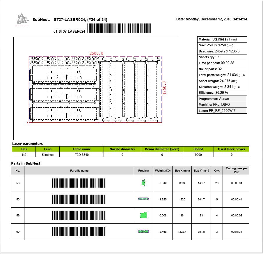 Rapport AutoNest avec codes-barres