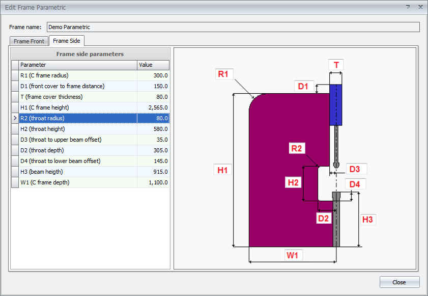 MBend allows parametric tool definitions