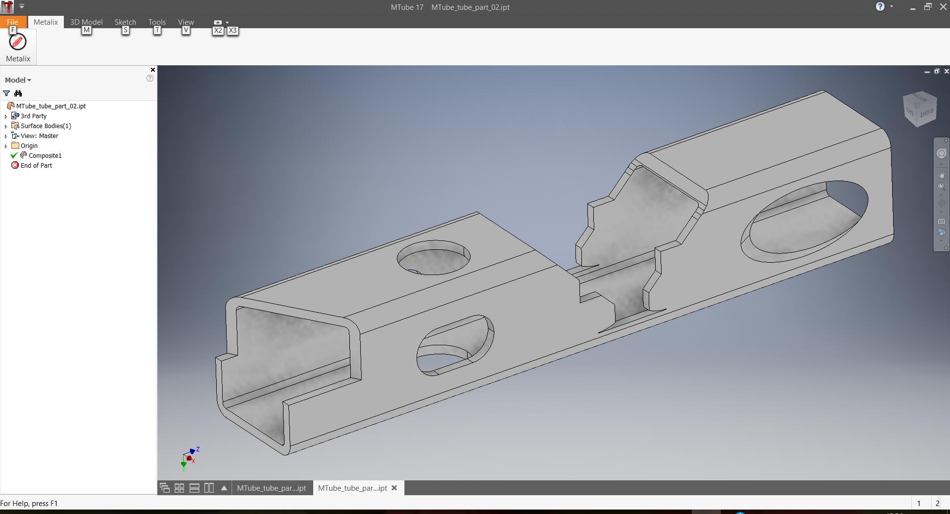 Export 3D de tube de MTube vers cncKad
